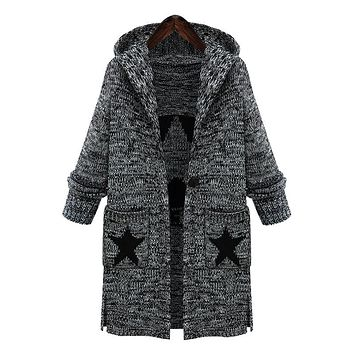 Plus Size Women Sweaters Autumn Winter Fashionable Hooded Star pattern Loose Thick Knitting Sweaters Extra Large Hooded Sweater