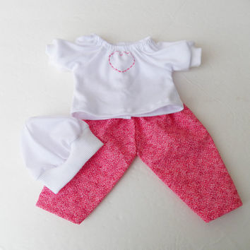 """Bitty Baby Clothes handmade 15"""" Girl or baby doll Heart valentines day 3 pc outfit pink floral white heart peasant knit t shirt, hat, pants"""