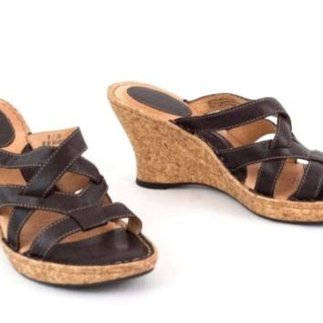 """Born Leather Sandals 3"""" Wedge Heel Cork Hand Crafted  Slip On 8 M Brown  EU 39"""