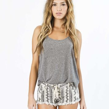 Billabong Women's Lite Hearted-Geo Stripe Denim Shorts