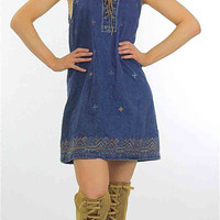 90s Grunge denim lace up mini dress M