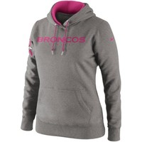 Nike Denver Broncos Ladies Breast Cancer Awareness Tailgater Pullover Hoodie - Ash