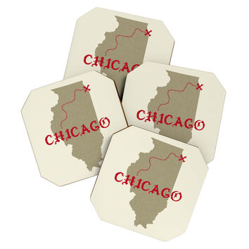 DarkIslandCity Chicago X Marks The Spot Coaster Set
