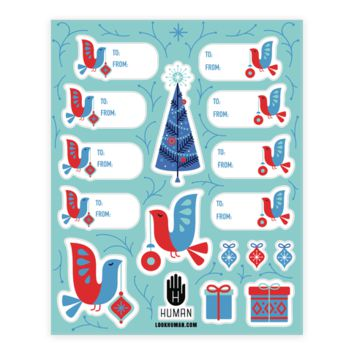 VINTAGE CHRISTMAS TREE DECORATING GIFT TAG STICKERS