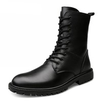 Genuine Leather Mid-Calf Military Boots