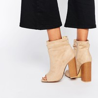 Missguided Peep Toe Slouch Boot With Block Heel