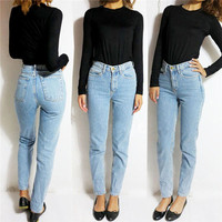 Vintage High Waist Jeans Women Denim Pants 2016 New Slim Pencil Pants Capris Trousers Fits Lady Jeans Women Jeans Plus Size