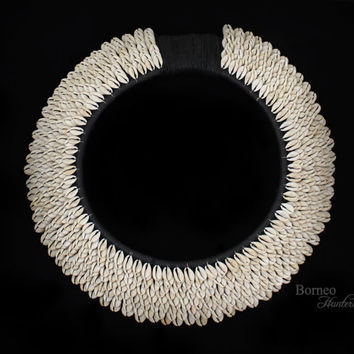 Cowrie Shell Necklace  PAPUA NEW GUINEA Tribal Traditional Currency Shell Ceremonial Neck Ornament Ten Overlapping Bands Black Fiber Collar