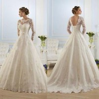 Long Sleeves Lace Wedding Dresses with Sash Ivory Bridal Dresses