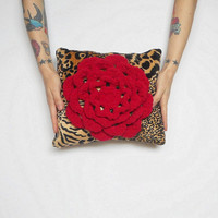 Small Decorative Leopard Print Pillow with Crochet Red Rose, Accent Pillow, Throw Pillow, Room Decor, Ready to ship.
