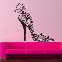 Wall Vinyl Sticker Decals Art Decor Sexy Fashion Cool Woman Girl Shoe Butterfly 165