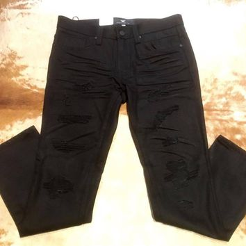 Jordan Craig Black Ripped Distressed Jeans