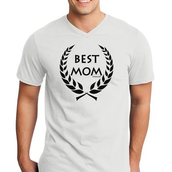 Best Mom - Wreath Design Adult V-Neck T-shirt by TooLoud
