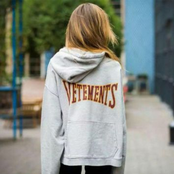 Autumn and winter Vetements hooded coat men and women loose lovers sweater