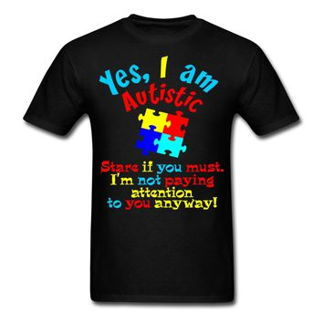 LEQEMAO Autism Quote Autistic Not Paying Attention Men's T-Shirt Printed Hipster Tee Tee Shirt