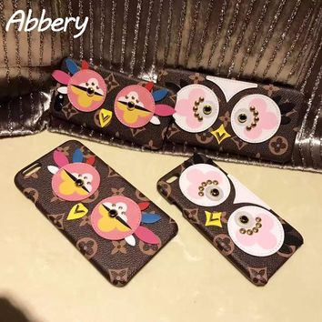 Rivet Owl Case with Wrist Lanyard for iPhone7 7plus 6 plus 6S plus Fashion Cute Design 3D Cartoon Soft TPU Back Case Funda Cover