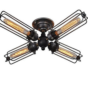 4 Lights Industrial Ceiling Light Vintage style- kitchen ceiling fixture- dining room ceiling fixture- rustic ceiling fixture