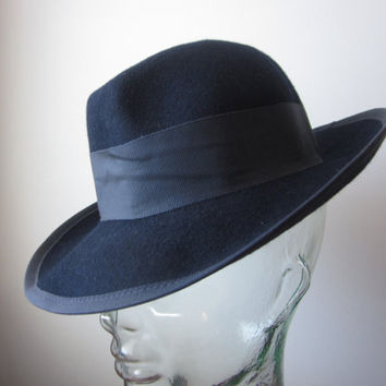 Vintage Wool Fedora Hat Navy Blue Betmar New York 1950s