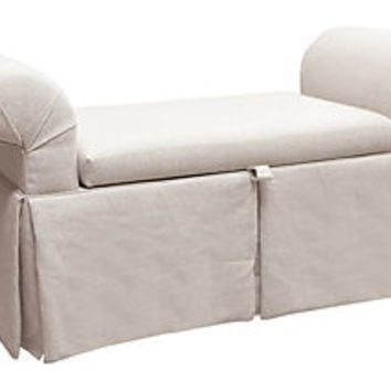 Mara Roll-Arm Storage Bench, Linen Talc