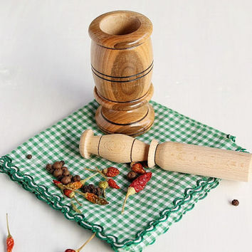 Small Wooden Mortar with Pestle, Wood Spice Grinder Set, Natural Beech Wood Mortar, Nut Grinder, Herb Grinder, Rustic Wood Mortar Pestle Set
