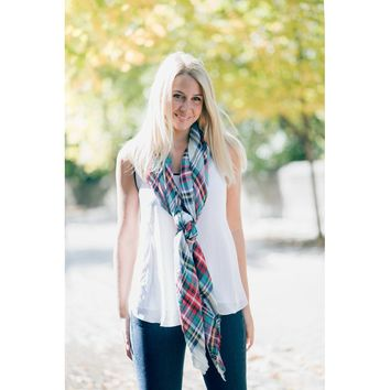 Plaid Pattern Square Scarf