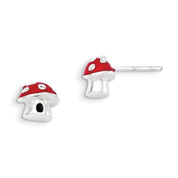 925 Sterling Silver Red Enameled 3D Mushroom Girls Stud Earrings