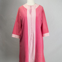 Mod Vintage Color Block Robe Hot Pink Tassel Pull Too Cute!