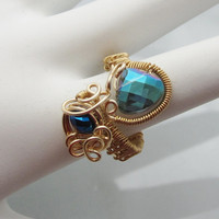 Aqua Czech Crystal Copper Cocktail Ring