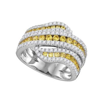 14kt White Gold Women's Round Natural Canary Yellow Diamond Crossover Band Ring 1-3-4 Cttw - FREE Shipping (US/CAN)