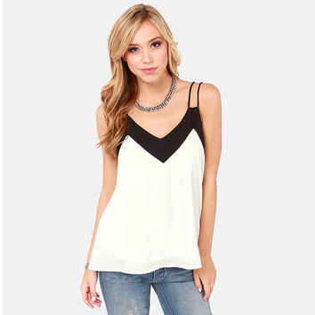 Chiffon V Neck Sleeveless Backless Tank Tops