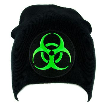 ac spbest Toxic Green Biohazard Sign Beanie Knit Cap Horror Clothing Zombie Apocalypse