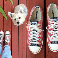 Vintage 90s 4th Of July Bars & Stars Converse All Star Sneakers Mens size 10.5 American USA Flag Chucks Red White Blue Shoes