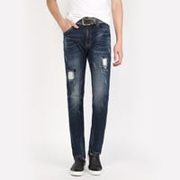 Winter England Style Denim Pants Ripped Holes Jeans [6541366083]