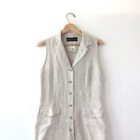 long natural linen dress / sleeveless linen dress / button front maxi dress