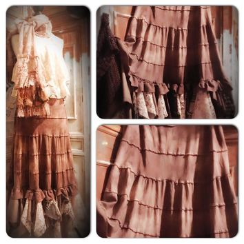 Stevie Nicks style brown maxi skirt, lace maxi skirt, True Rebel Clothing