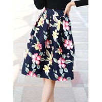 Floral Print A-Line Vintage Style Skirt For Women