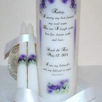 "WU110 WEDDING UNITY Candle - ' Today, I Marry ' with Song 6:3 transferred into a white 3"" x 9"" Unscented Pillar Candle with Matching Tapers"
