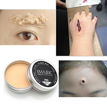 Special Effects Stage Makeup Halloween Party Fake Wound Scars Wax + Spatula Tool - 2PC