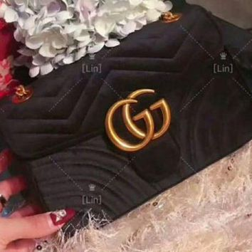 One-nice™ GUCCI Women Shopping Velvet Satchel Shoulder Bag Handbag Crossbody