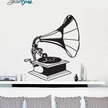 Vinyl Wall Decal Sticker Antique Record Phonograph #408