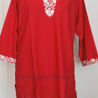 Red Blouse/Red Tunic/Red Kaftan/Red Caftan/Red beach coverup/Red honeymoon dress/Red Beach Wedding Dress/Red Swimsuit coverup/Red short top