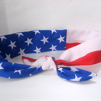 Rockabilly Headband  Patriotic Pin-up BANDANA Vintage Style 50s RETRO Head Wrap Scarf 4th of JULY