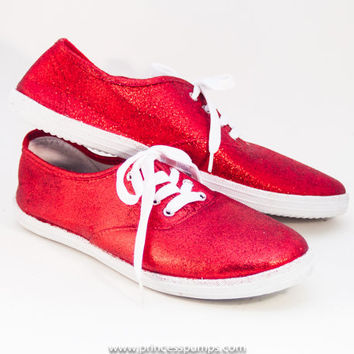 Glitter Bright Red CVO Canvas Sneakers Shoes