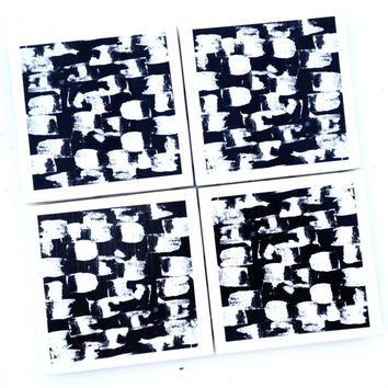 Black White Drink Coasters, Emine Ortega Art, Mod Podge Decor, Abstract Black White Decor, Black Squares, White Squares, Ceramic Coasters