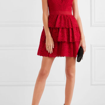 Alice + Olivia - Clora tiered corded lace mini dress