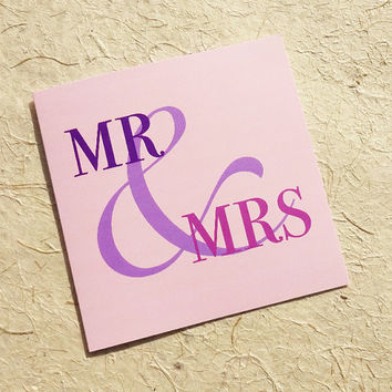 Wedding card, Mr & Mrs, stylish ampersand design to congratulate the happy couple on their big day