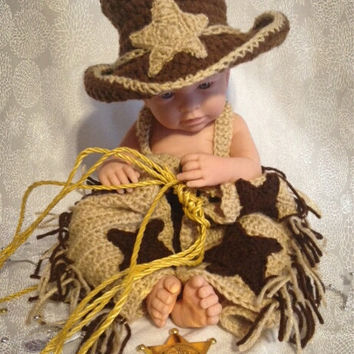 Cowboy Hat and Fringe Chaps/Crochet Cowboy Photo Prop/Adjustable Diaper Cover with Suspenders/Cowboy/Cowboy Hat/Newborn photo prop