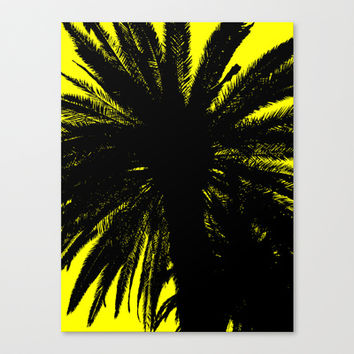 Palm Trees Silhouette - Yellow Sunrise Canvas Print by Moonshine Paradise