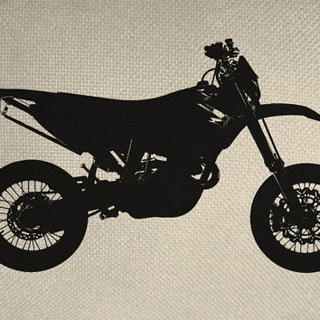 Dirt Bike Motorcycle Style Silhouette Iron On Tote Bag Pillow Sheet Burlap Transfer Riding Off Road Graphic Digital Download No. 6