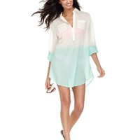 Raviya Cover Up, Long-Sleeve Dip-Dye Button-Front Tunic - Junior Swimwear - Women - Macy's